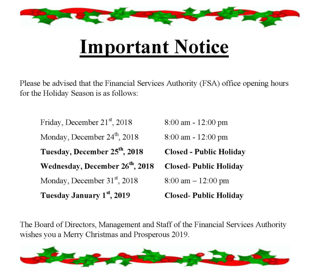 Notice of Clsoure Days December 2018