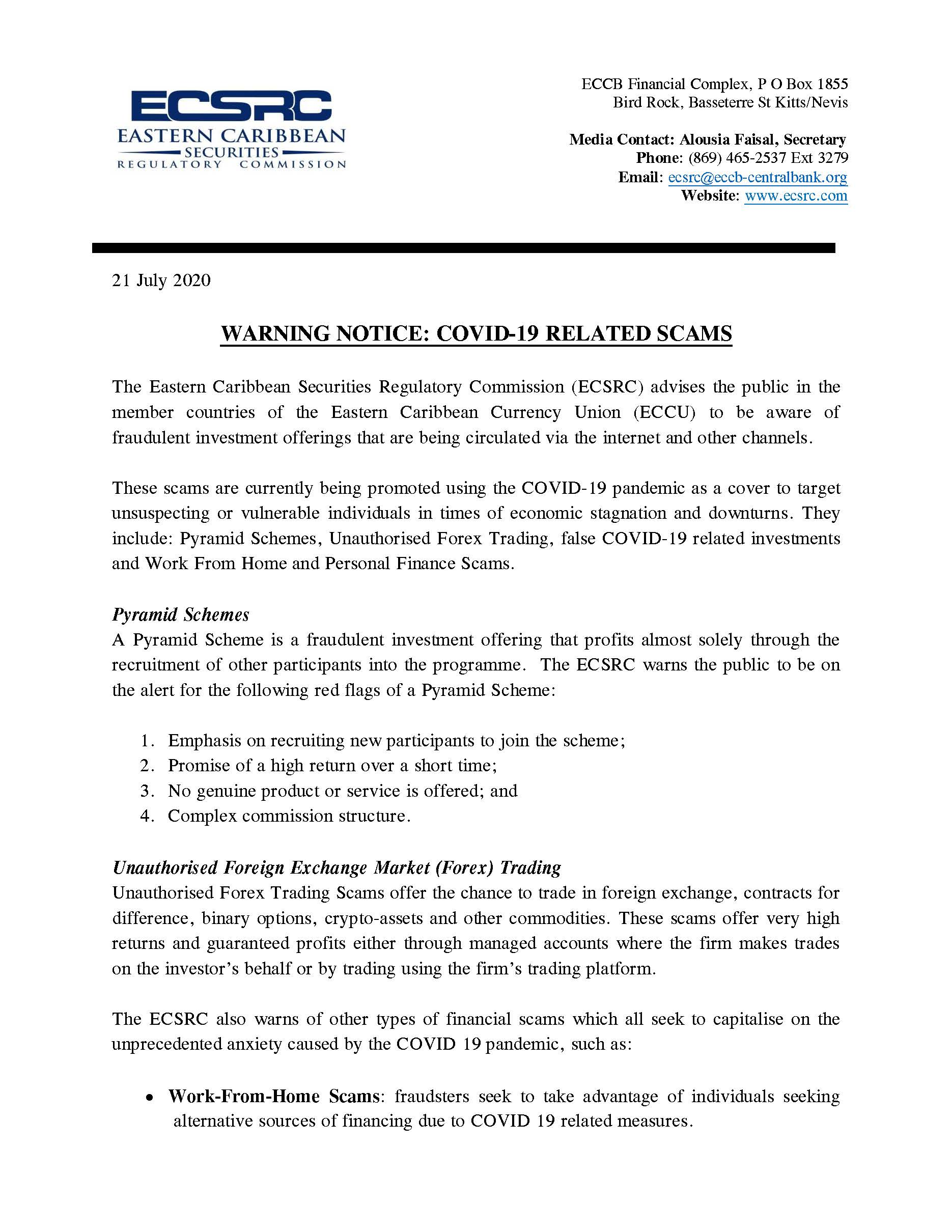 ECSRC – WARNING NOTICE: COVID-19 RELATED SCAMS